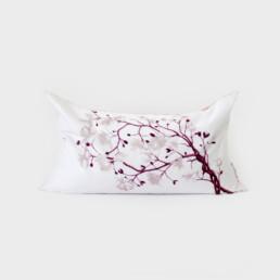 Cousin de méditation de velour rectangulaire, sérigraphié et cousu à la main, de couleur rose et blanc, illustration arbre en fleur