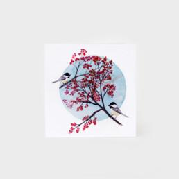 Carte de souhait mésanges arbre en fleur Audrey Charron Art